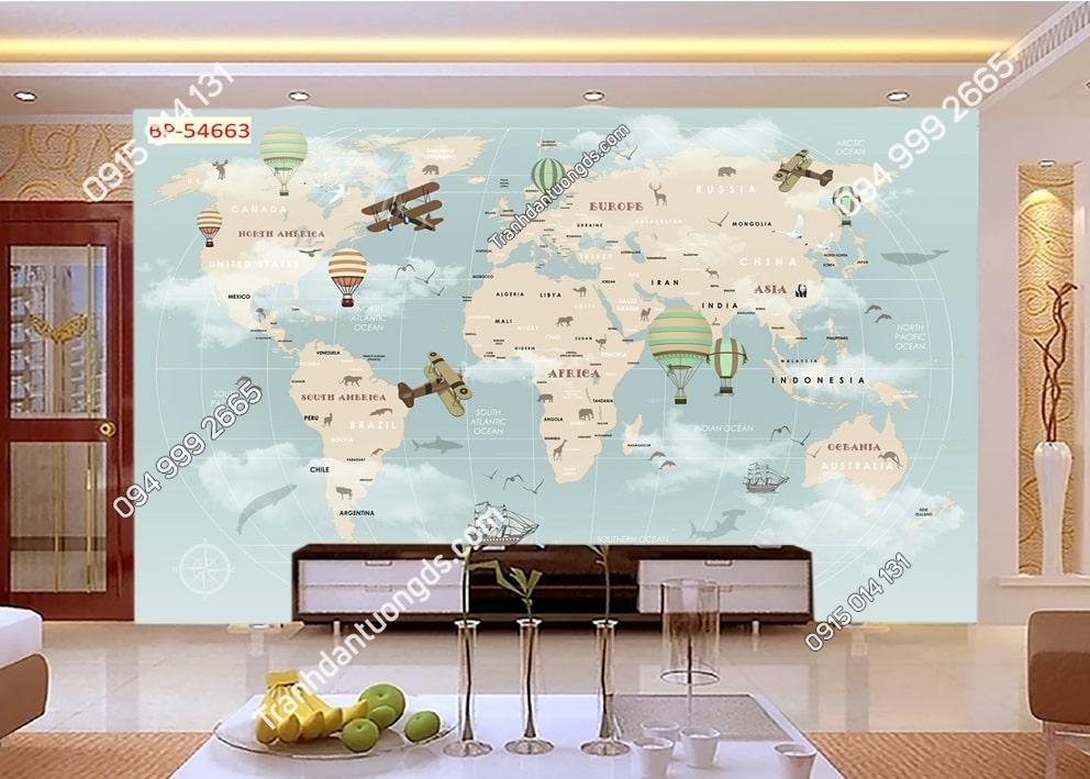 Tranh tường bản đồ và máy bay khinh khí cầu 54663