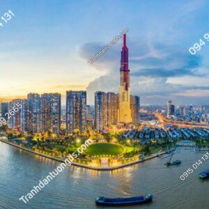 Tranh tường cảnh Sài Gòn chiều tối 1271000323