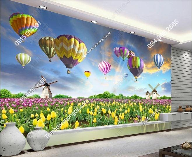 Tranh tường cánh đồng hoa khinh khí cầu 3D DS_15529668