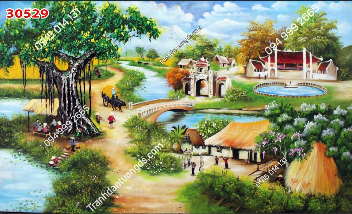 Tranh tường cây đa đầu làng 30529