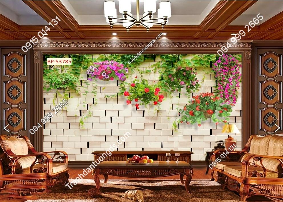 Tranh tường đá và chậu hoa treo 53785