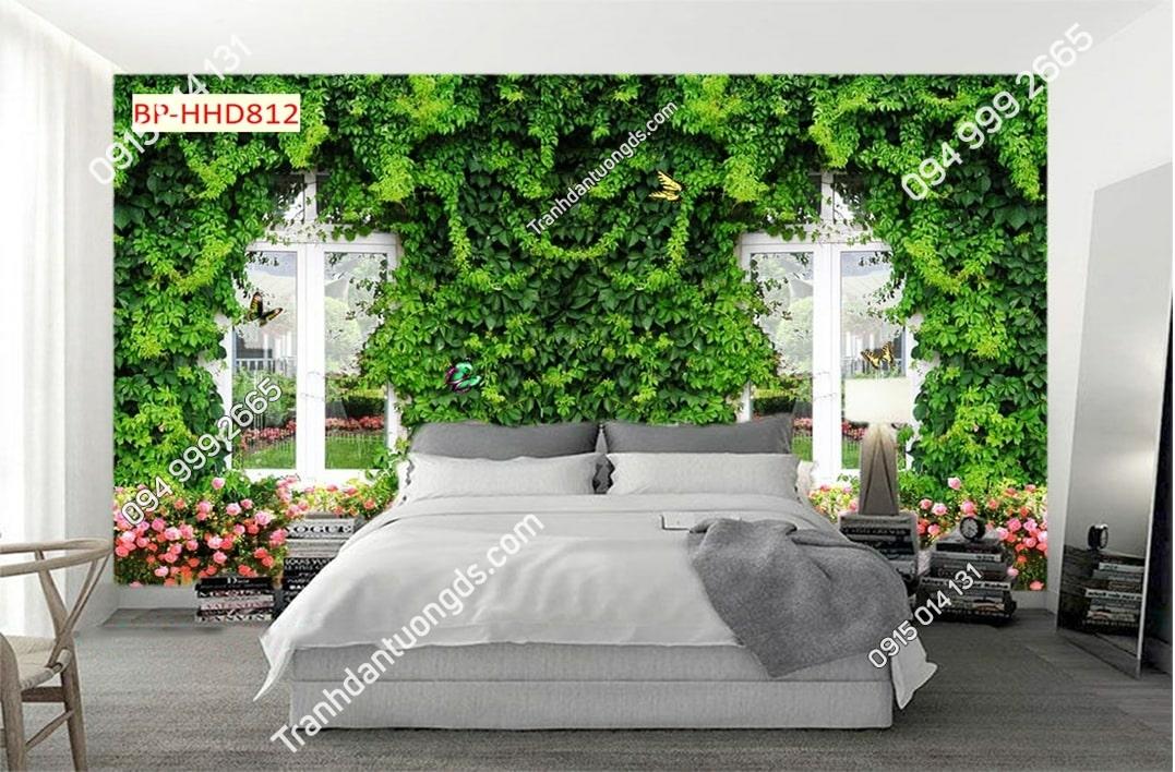 Tranh tường dây leo xanh dán đầu giường HHD812