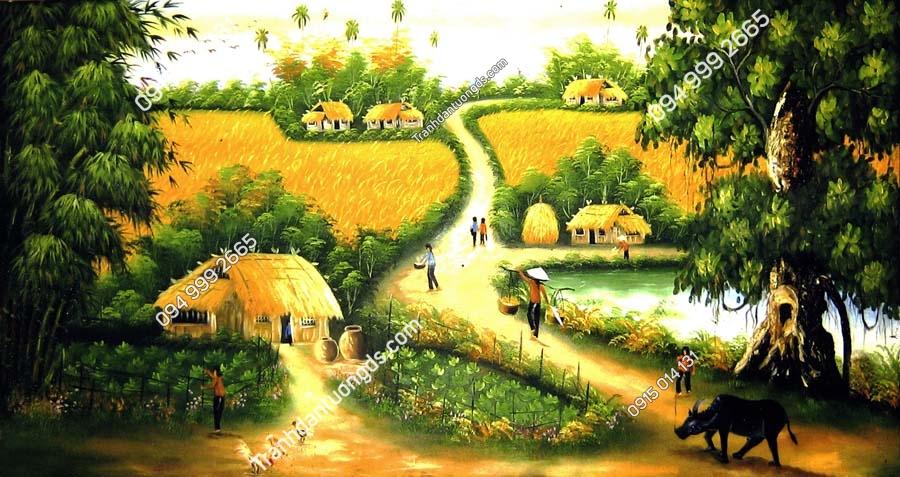 Tranh tường đồng quê lúa chín vàng DQ70