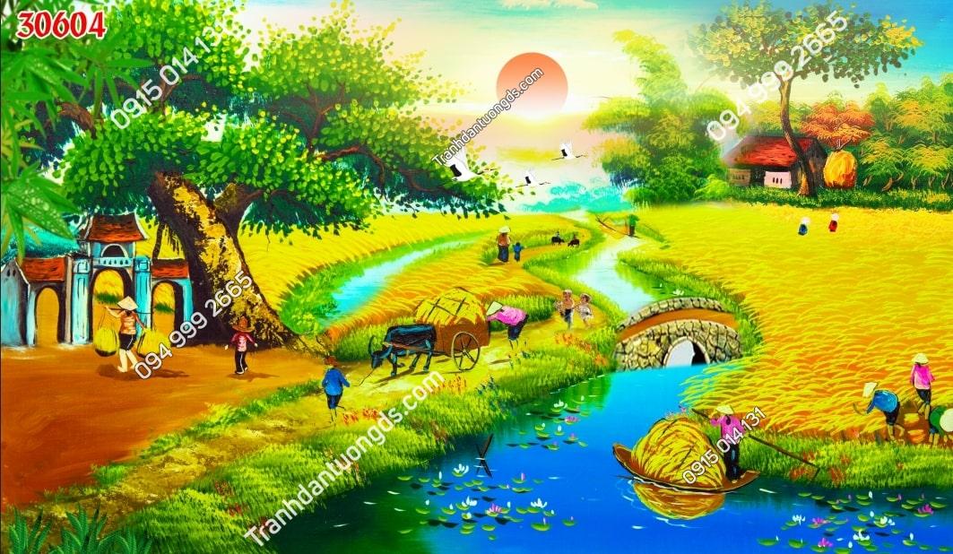 Tranh tường đồng que mùa gặt 30604