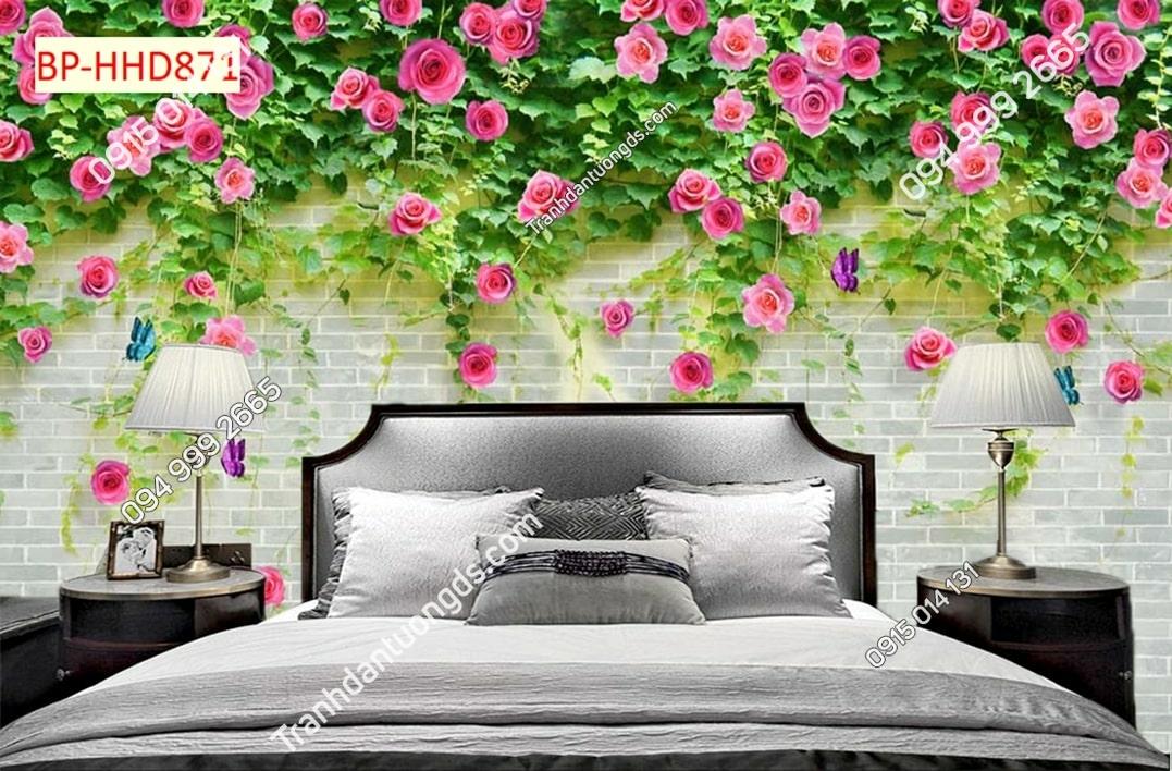 Tranh tường gạch trắng và hoa leo HHD871