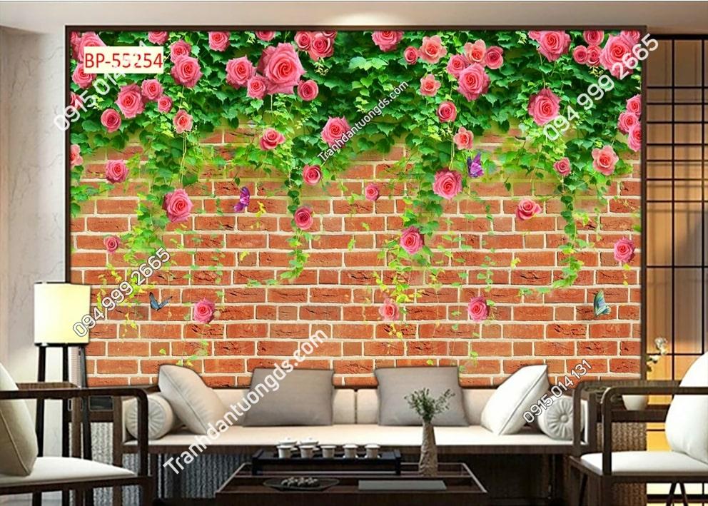 Tranh tường gạch và hoa 55254