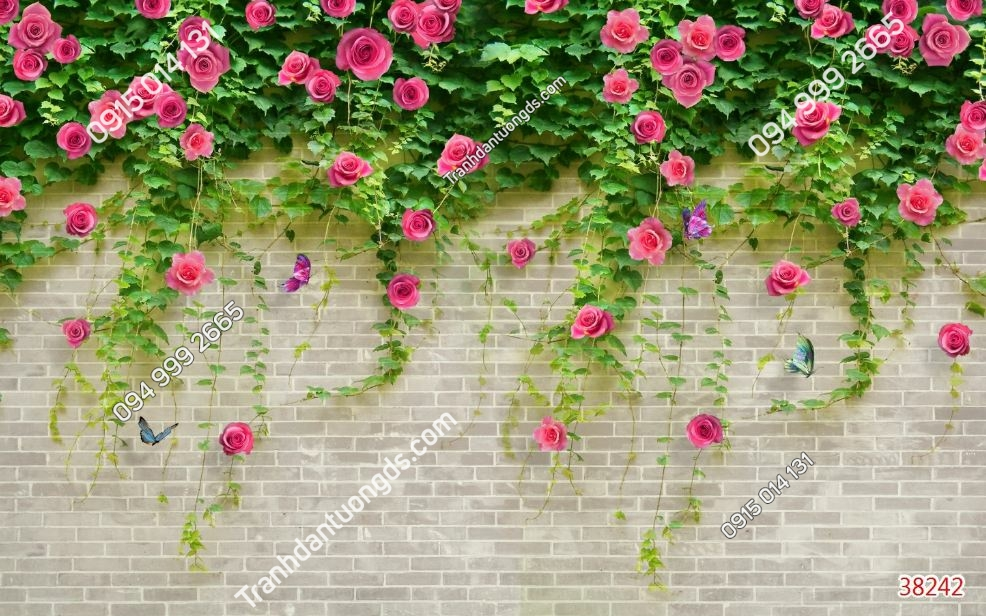 Tranh tường gạch và hoa hồng 38242