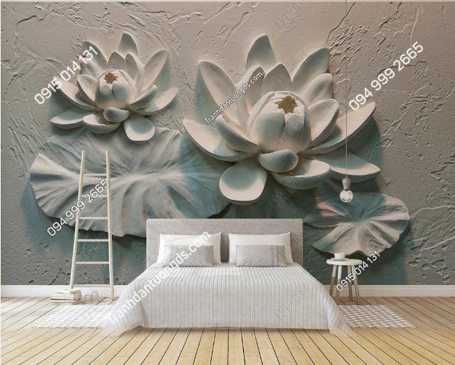 Tranh tường giả hoa sen khắc nổi 3D DS_16926258