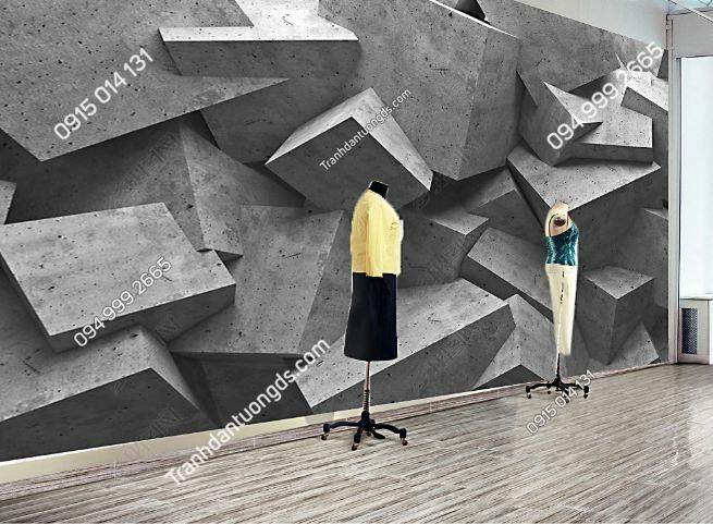 Tranh tường giả khối đá 3D cho shop thời trang DS_16443824
