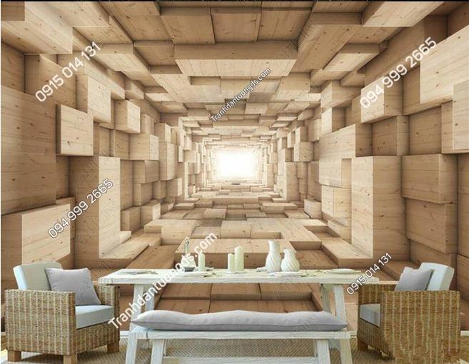 Tranh tường giả lối đi hộp gỗ 3D DS_17386922