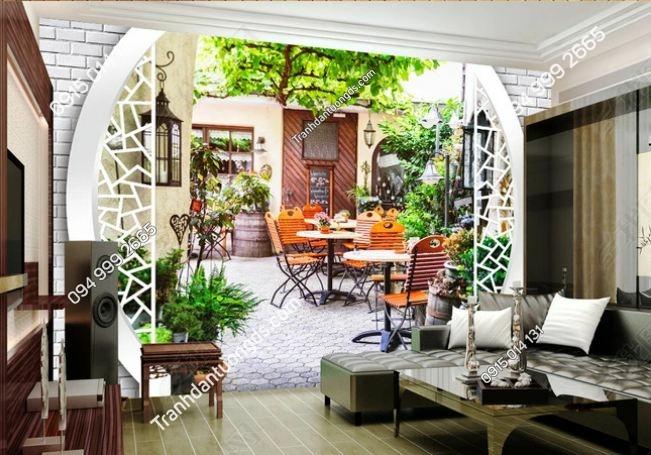 Tranh tường giả lối đi vào quán cafe như thật 3D DS_13909153