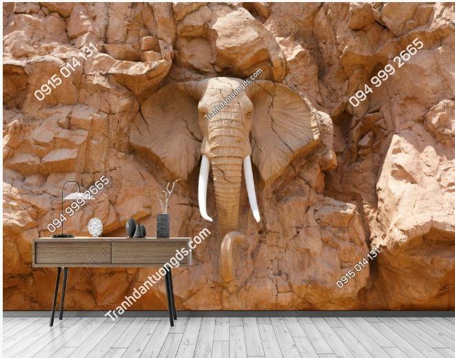Tranh tường giả voi khắc đá 3D DS_16837170