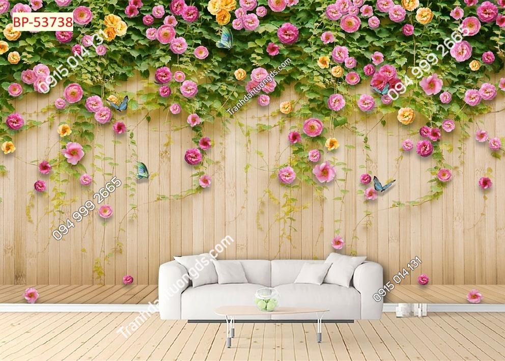 Tranh tường gỗ và hoa 53738