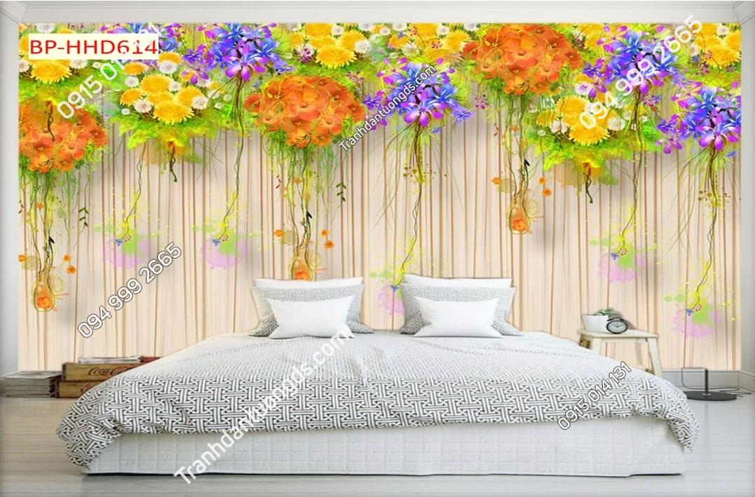 Tranh tường gỗ và hoa HHD614