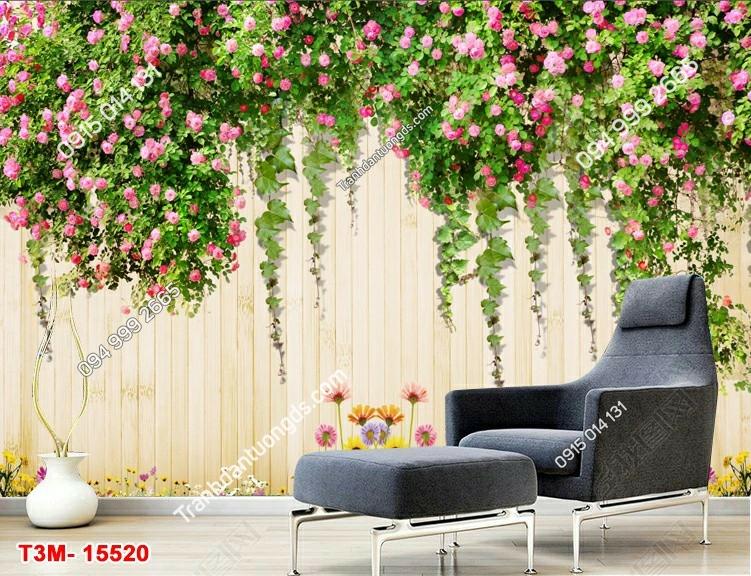 Tranh tường gỗ và hoa hồng 15520 DEMO