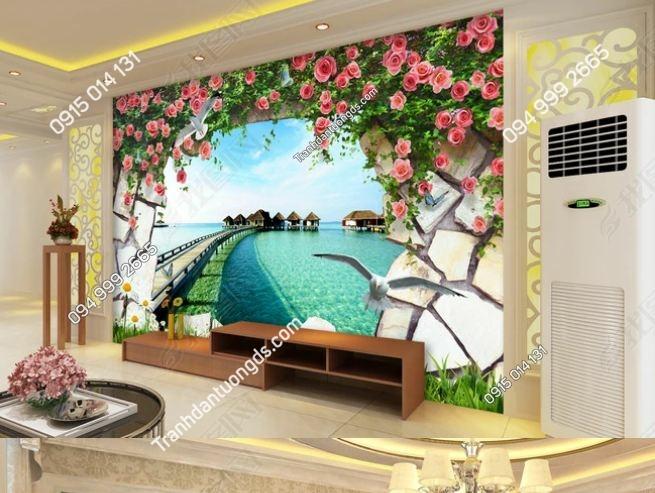 Tranh tường hoa 3D dán phòng khách DS_11973899