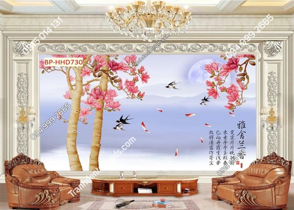 Tranh tường hoa 3D màu hồng dán phòng khách HHD730