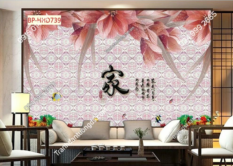 Tranh tường hoa 3D màu hồng dán phòng khách HHD739