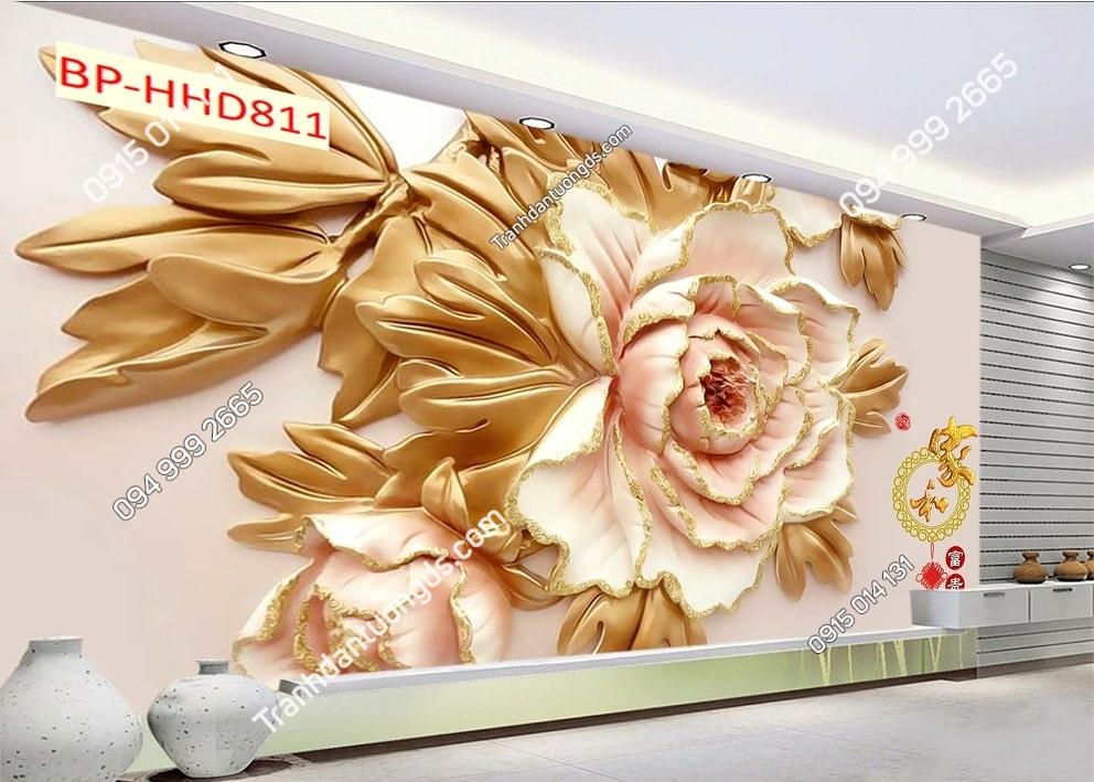 Tranh tường hoa 3D màu hồng dán phòng khách HHD811