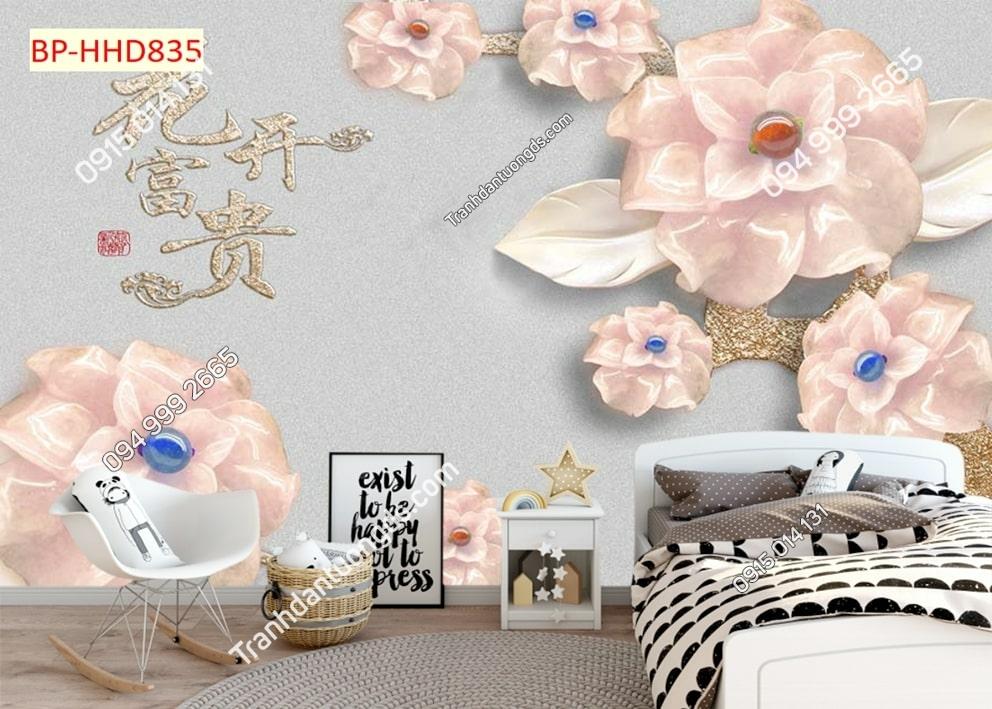 Tranh tường hoa 3D màu hồng dán phòng khách HHD835