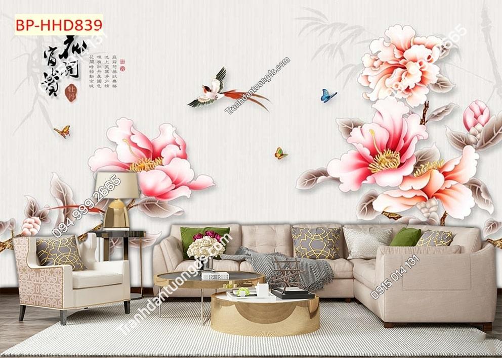 Tranh tường hoa 3D màu hồng dán phòng khách HHD839