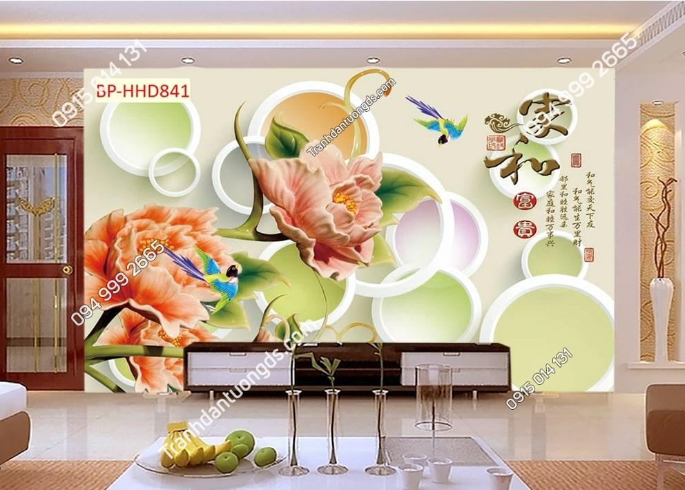 Tranh tường hoa 3D màu hồng dán phòng khách HHD841