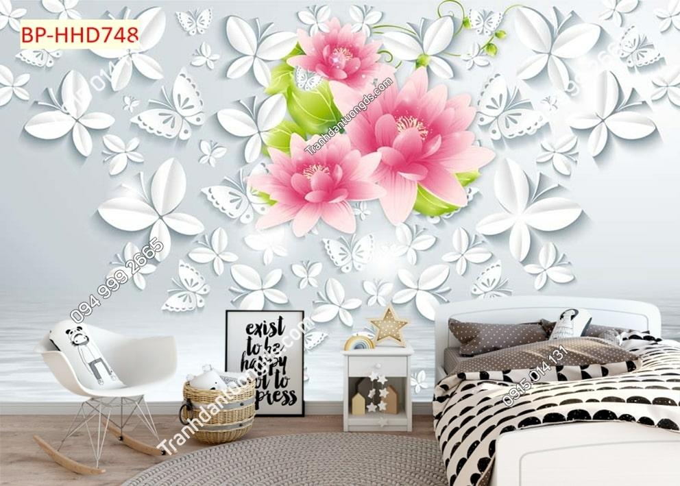 Tranh tường hoa 3D màu hồng dán phòng ngủ HHD748