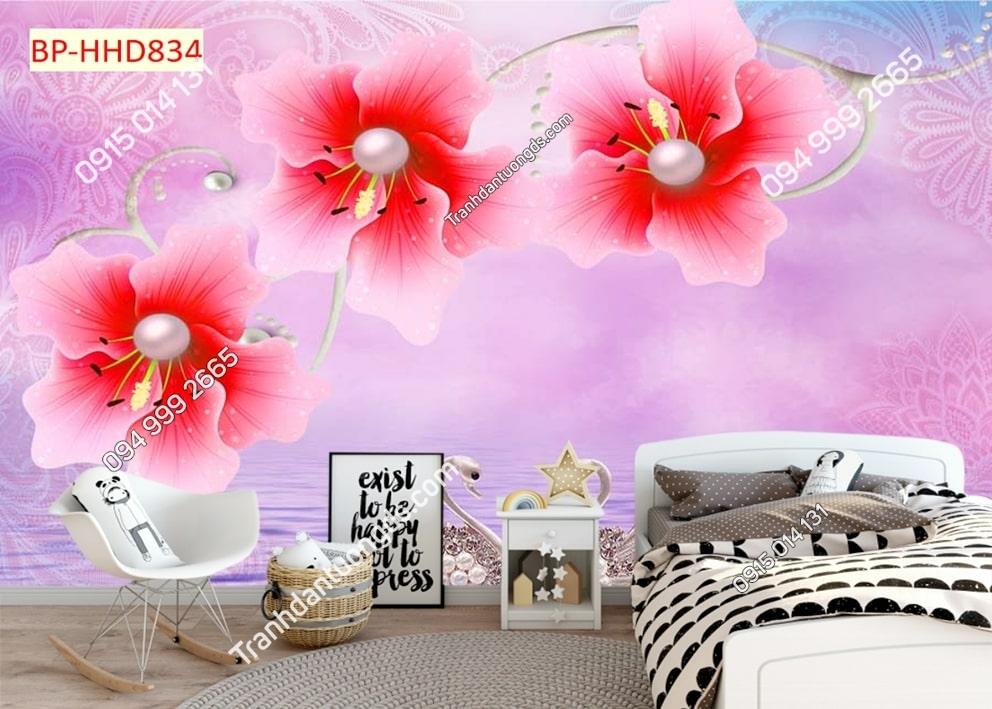 Tranh tường hoa 3D màu hồng dán phòng ngủ HHD834