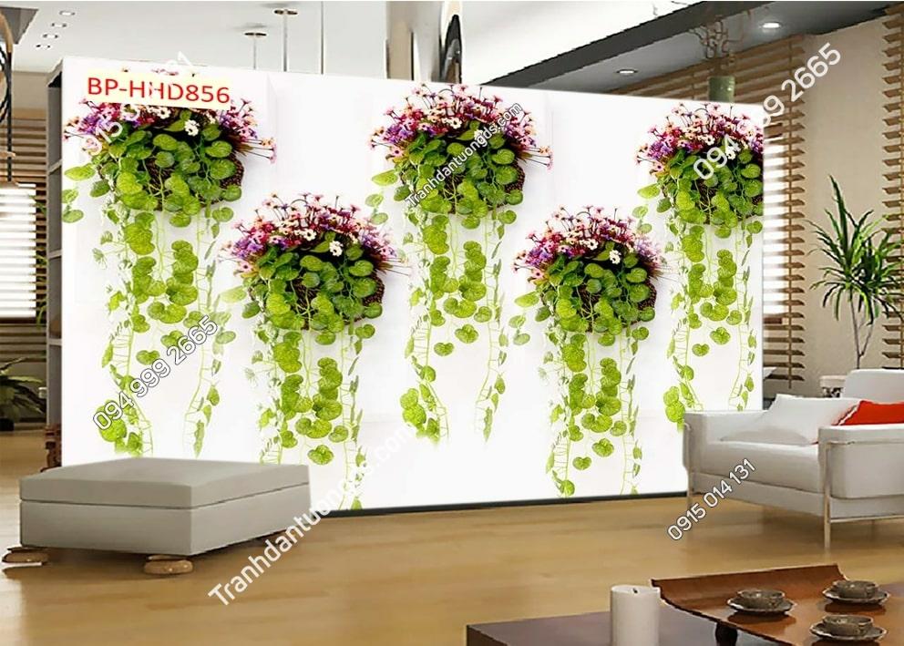 Tranh tường hoa 3D màu tím lá xanh dán phòng khách HHD856
