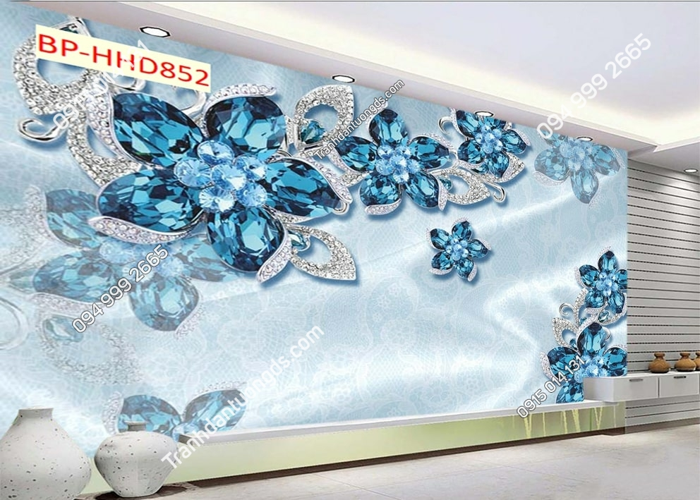 Tranh tường hoa 3D màu xanh dán phòng khách HHD852