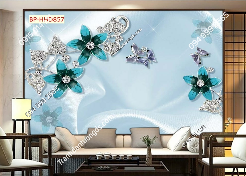 Tranh tường hoa 3D màu xanh dán phòng khách HHD857