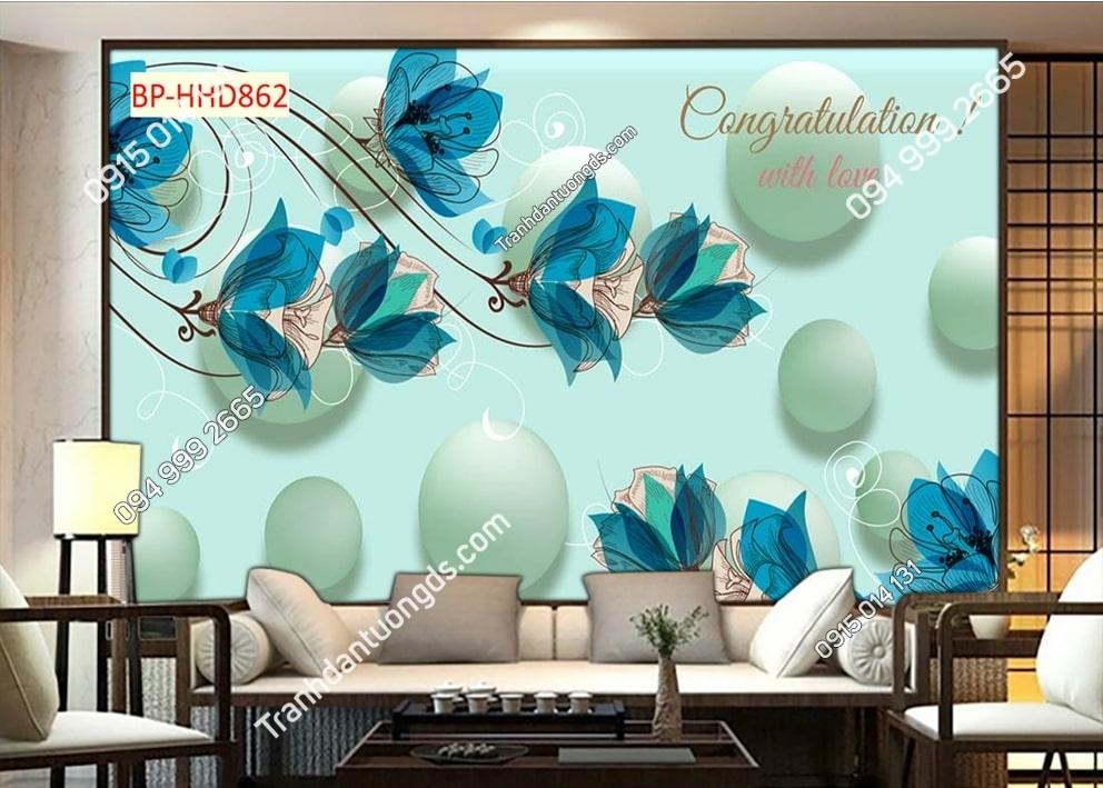 Tranh tường hoa 3D màu xanh dán phòng khách HHD862
