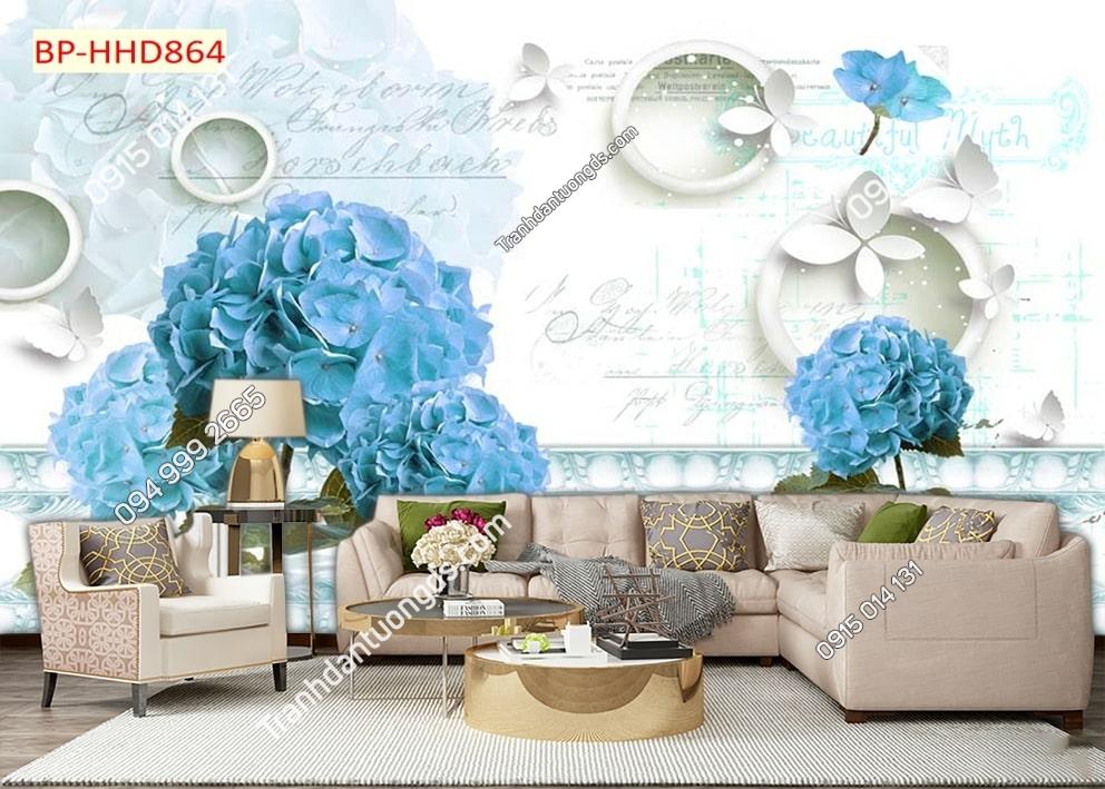Tranh tường hoa 3D màu xanh dán phòng khách HHD864