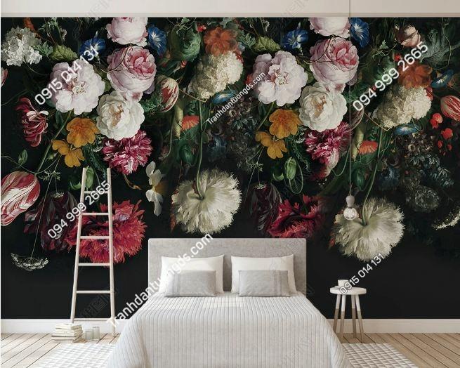 Tranh tường hoa 3D nền đen DS_16071507