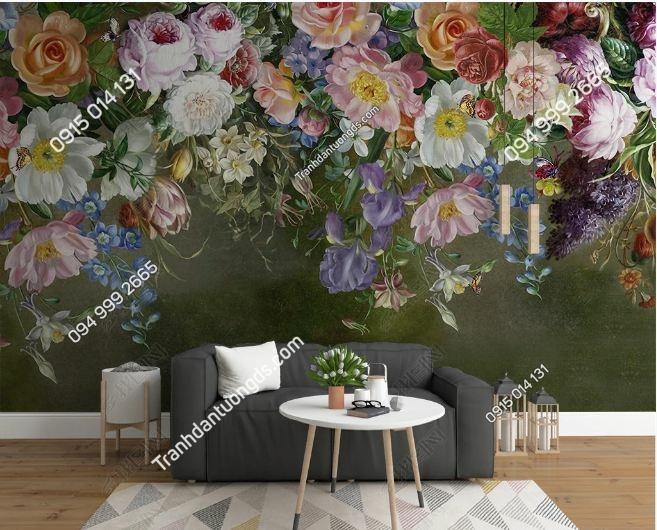 Tranh tường hoa 3D phòng khách DS_17542835