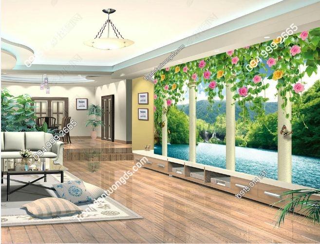 Tranh tường hoa 3D và cảnh hồ DS_12059936