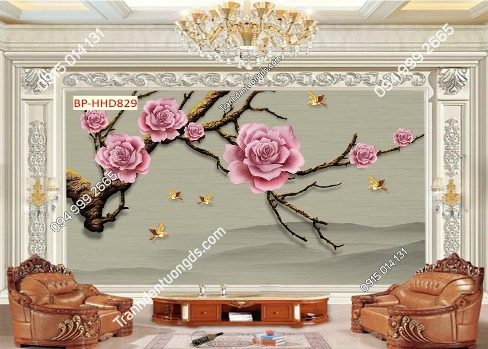 Tranh tường hoa đào 3D màu hồng dán phòng khách HHD829