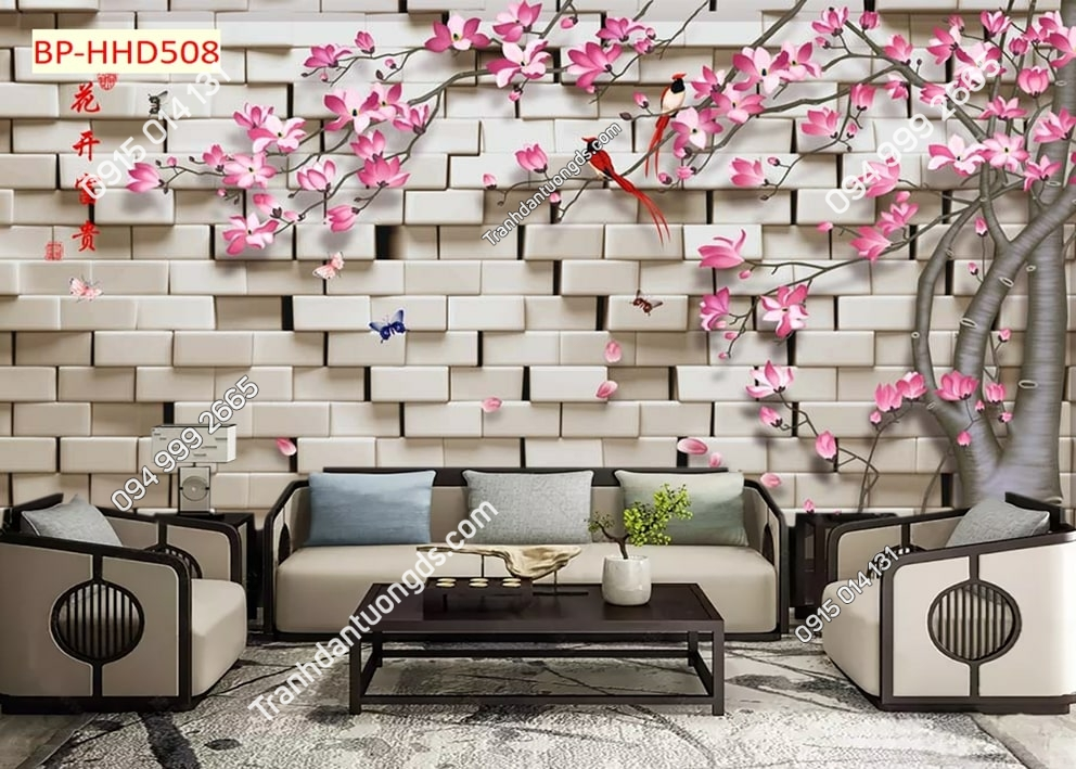 Tranh tường hoa đào hồng 3D HHD508
