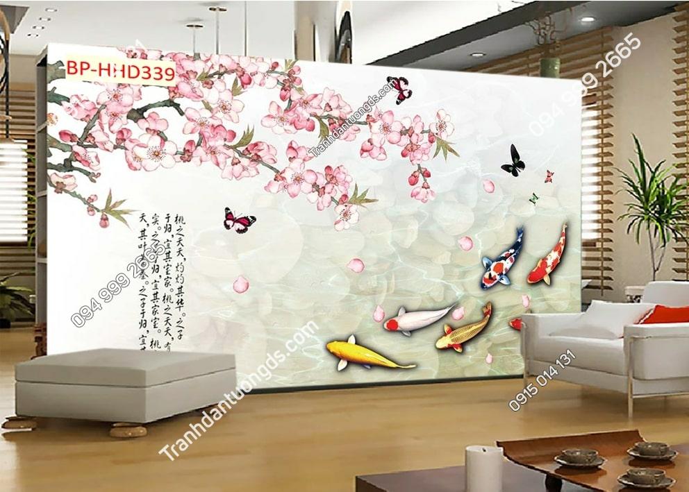 Tranh tường hoa đào hồng và cá 3D HHD339