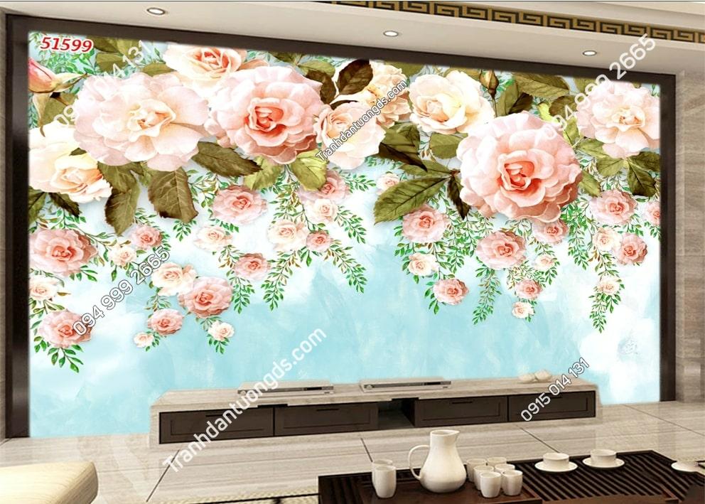 Tranh tường hoa hồng 3D 51599