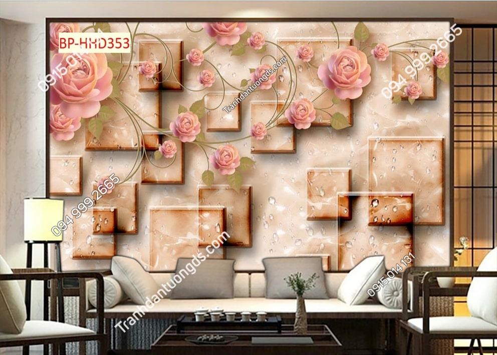 Tranh tường hoa hồng 3D HHD353