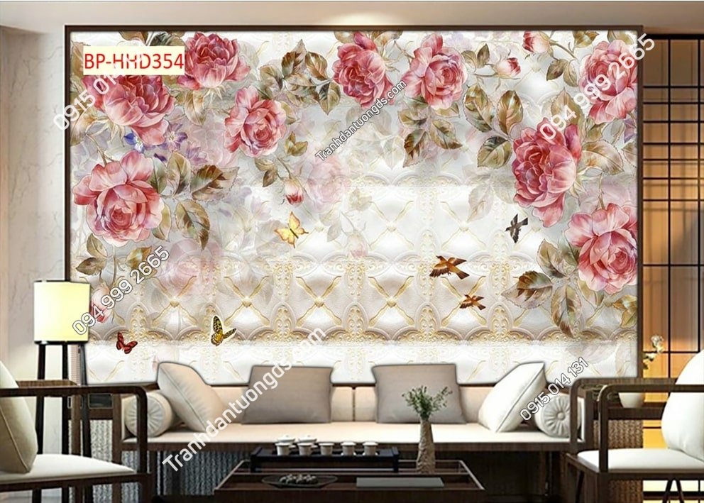 Tranh tường hoa hồng 3D HHD354