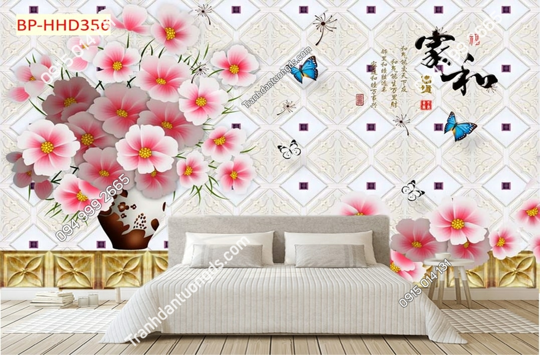 Tranh tường hoa hồng 3D HHD356