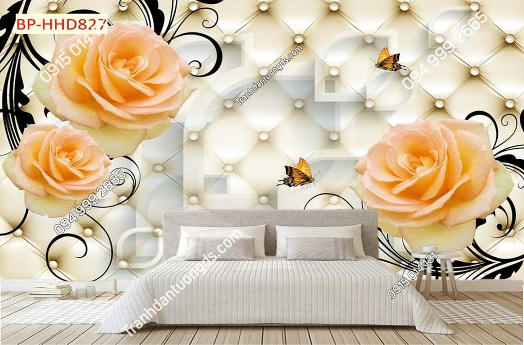 Tranh tường hoa hồng 3D màu cam dán phòng ngủ HHD827
