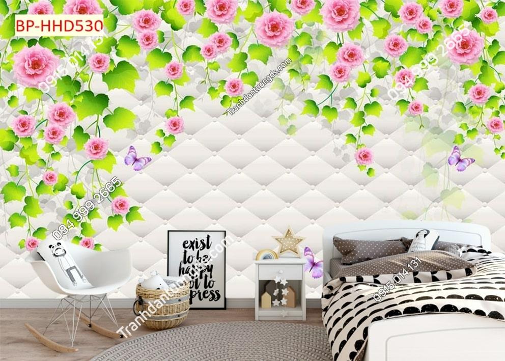 Tranh tường hoa hồng dán phòng ngủ HHD530