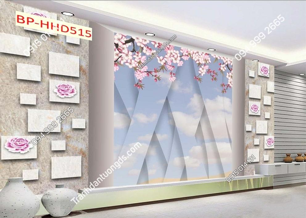 Tranh tường hoa hồng hồng 3D HHD515