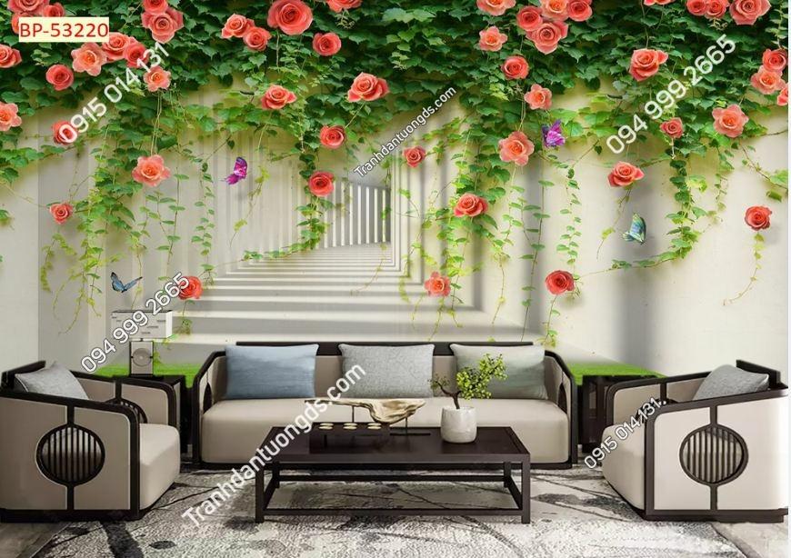 Tranh tường hoa hồng leo và lối 3D 53220