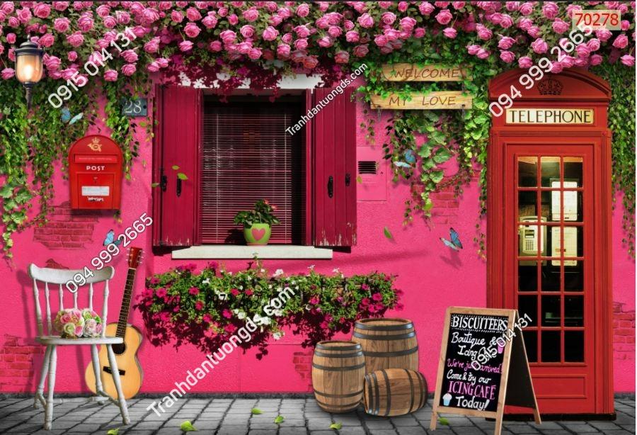 Tranh tường hoa hồng quán cafe 70278