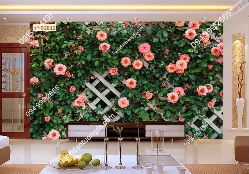Tranh tường hoa hồng và gỗ 52812