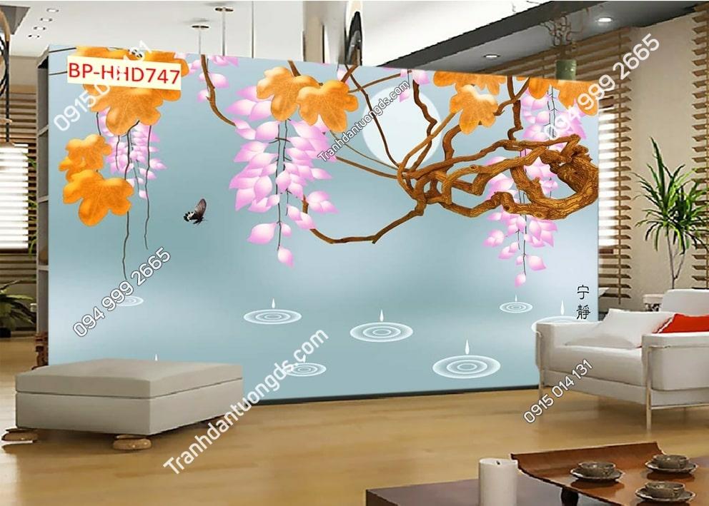 Tranh tường hoa lộc vừng 3D màu hồng dán phòng khách HHD747